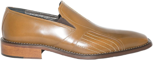 Maurizio Bellini 163 Cognac Brown Leather Slip On Loafers