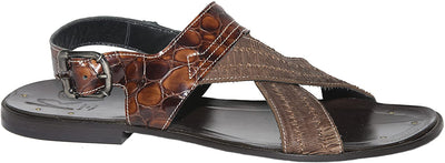 Roberto Guerrini S300 Brown Patent Leather Suede Trim Back Buckle Sandals