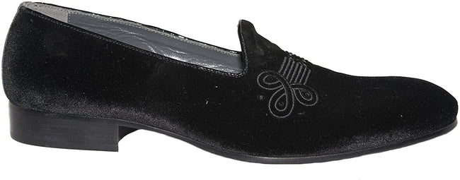 Giovanni Conti W02-01 Black Velour Pattern Print Slip On Loafers