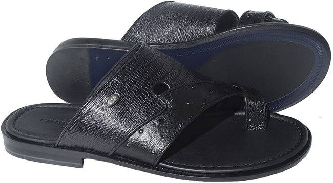 Giampiero Nicola 5005 Black Leather Push in Toe Sandals