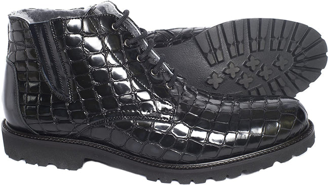 Giovanni Conti 3612-01 Black Animal Print Leather Lace Up Boots