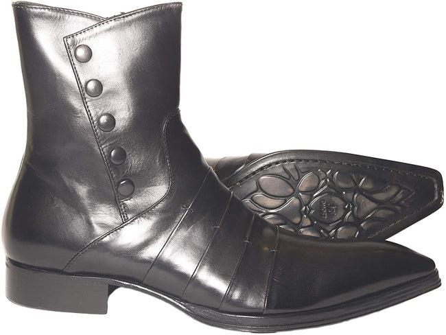 Jo Ghost 1832 Black Leather Buttoned Zipper High Rise Boots