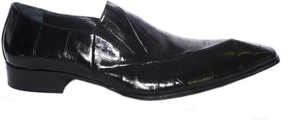 Jo Ghost 2672 M Black Leather Eel Skin Slip On Loafers