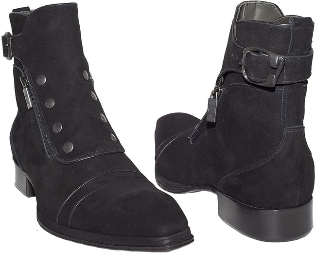 Jo Ghost 804 Black Suede Studded Double Zipper Strap Boots