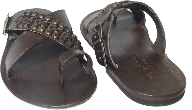 Giovanni Conti 701 Brown Criss Cross Leather Push In Toe Studded Sandals