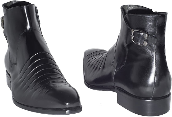 Jo Ghost 852 Black Leather Buckle Zip Up Boots