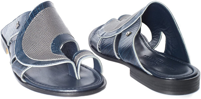 Giampiero Nicola 5057 Blue/Gray Crocodile Print Sandals