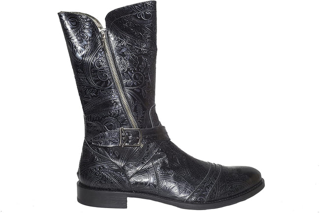 Carlo Ventura 2823 Black Decorative Leather High Rise Boots