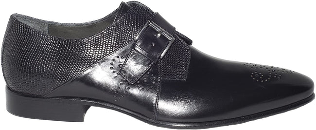 Jo Ghost 1156 Black Leather Lizard Trim Buckle Loafers