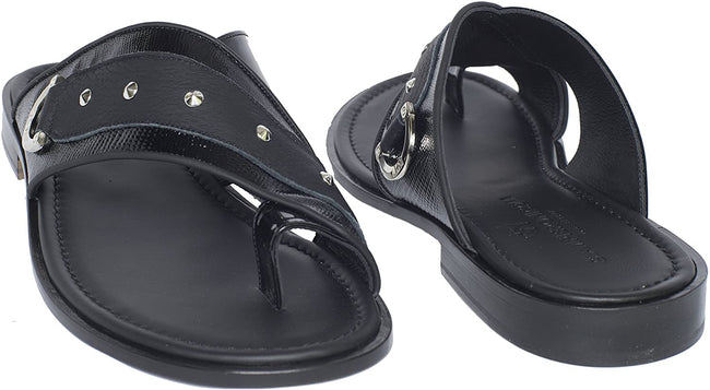 Giampieronicola 5319 Black Patent Leather Studded Push In Toe Sandals