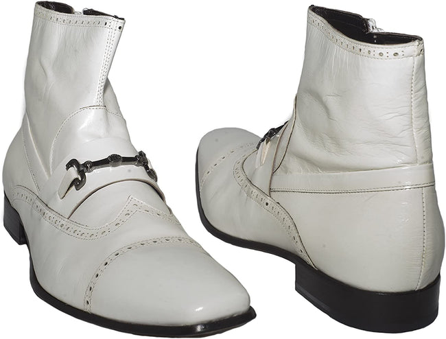 Roberto Guerrini A 757 White Kangaroo Leather Buckle Decor Boots