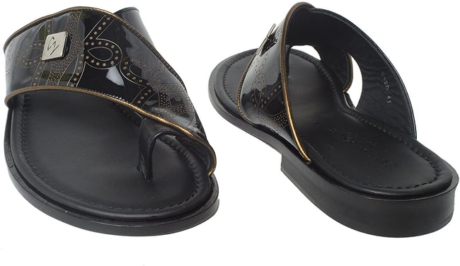 Giampiero Nicola 5320 Black Patent Leather Brown Trim Push In Toe Sandals