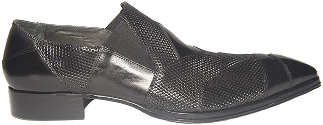 Jo Ghost 2029-EL Black Perforated Leather Slip On Loafers
