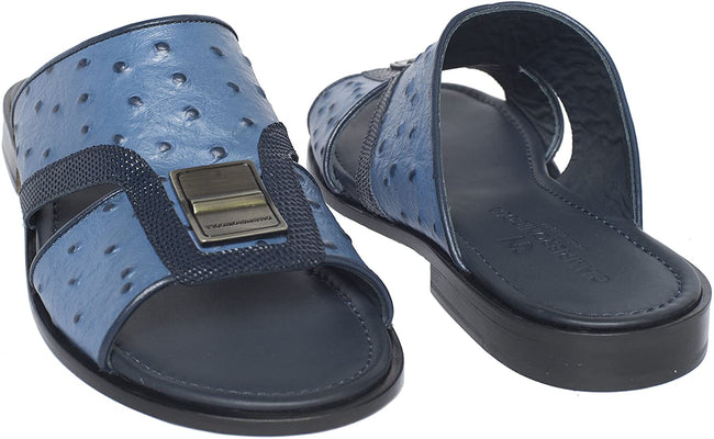 Giampiero Nicola 5379 Navy Blue Ostrich/Lizard Print Leather Sandals