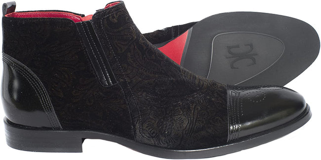 Giovanni Conti 3741-02 Black Pattern Suede/Leather Ankle Zip Up Boots