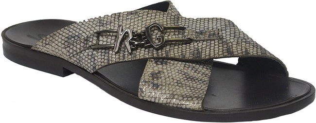 Roberto Guerrini S 501 Gray Snake Print Criss Cross Leather Sandals