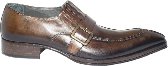 Jo Ghost 158 Brown Leather Buckle Slip On Loafers