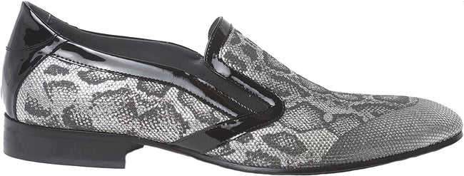 Giovanni Conti 3715-03 Gray/Silver Python Print Black Patent Trim Slip On Loafers