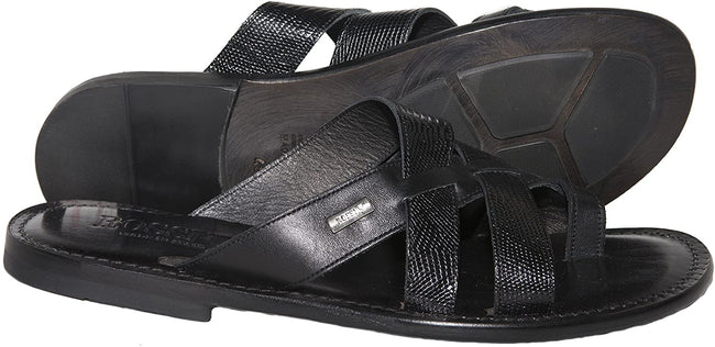 Rossi RS 262 Black Leather Push In Toe Sandals