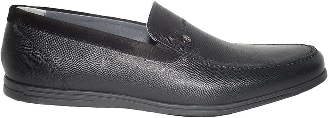 Giovanni Conti 3462-06 Black Leather Suede Trim Loafers