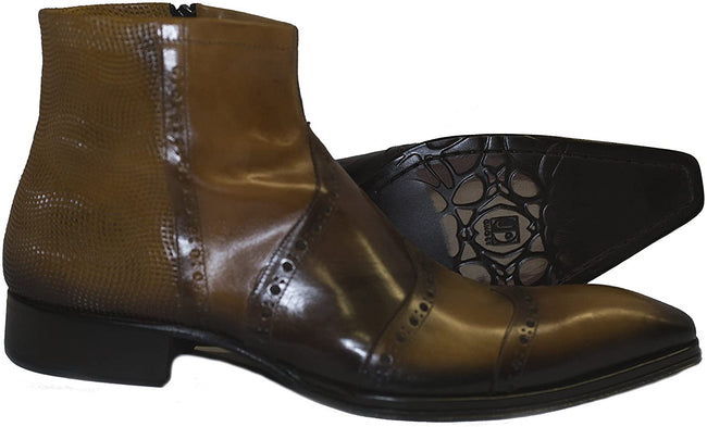 Jo Ghost 46217 Brown Leather Stitched Decor Zip Up Boots