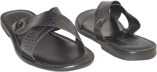 Rossi RS520 Black Criss Cross Leather Sandals