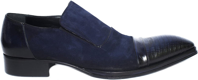 Jo Ghost 3047 Blue Leather/Suede Slip On Loafers