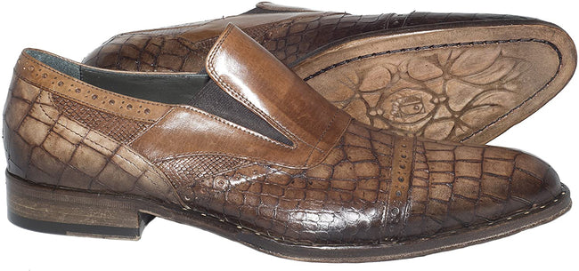Jo Ghost 4293 Brown Print Leather Slip On Loafers