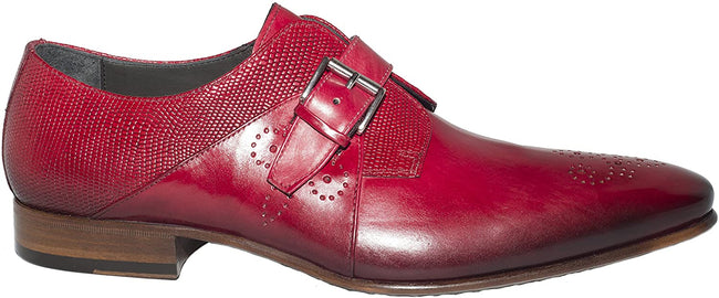 Jo Ghost 1156 Red Leather Lizard Trim Buckle Loafers