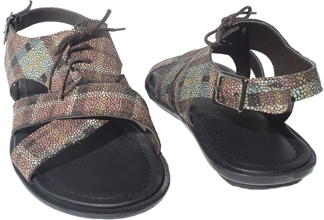 Giovanni Conti 680-01 Brown/Multi-Color Leather Back Strap Sandals