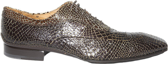 Debut 5098 Brown Crocodile Print Leather Lace Up Shoes