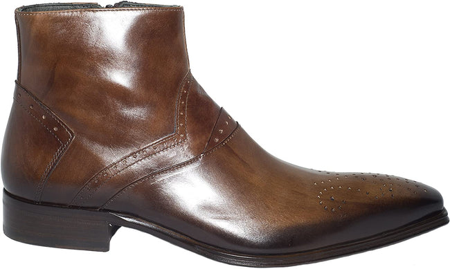 Jo Ghost 1081 Brown Leather Zip Up Boots