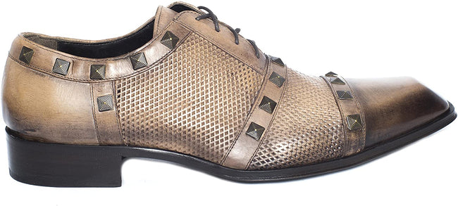 Jo Ghost 2961 Camel Beige Perforated Studded Lace Up Shoes
