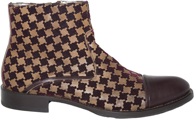 Carlo Ventura 2843 Bordo/Brown Velour and Leather Ankle Boots