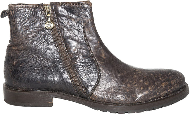 Roberto Guerrini A1040 Brown Leather Double Zipper Boots