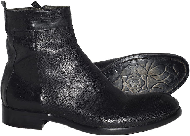 Jo Ghost 637 Black Laser Print Leather Zip Up Boots