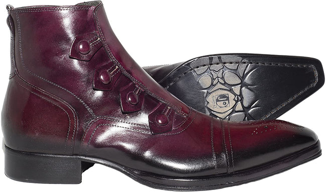 Jo Ghost 802 Bordo Leather Buttoned Zip Up Boots