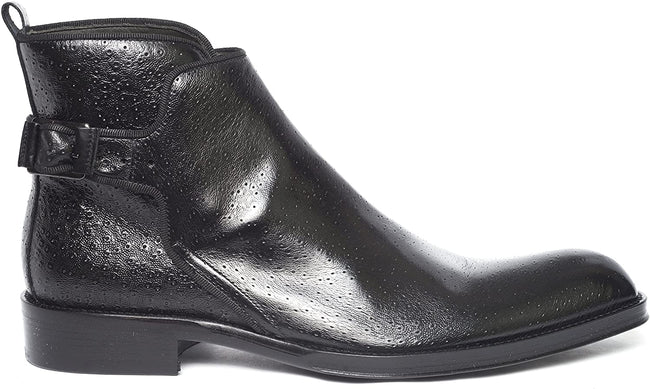 Jo Ghost 292 M Black Leather Strap Zip Up Boots