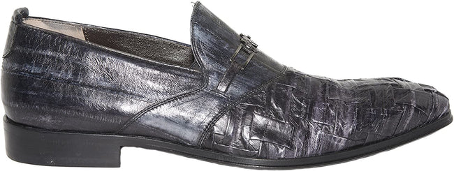 Roberto Guerrini A6451 Black Eel Skin Leather Slip On Logo Loafers