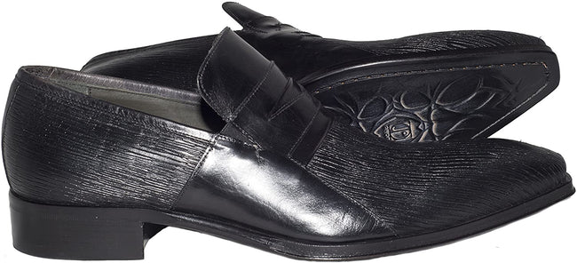 Jo Ghost 130 M Black Laser Print Leather Slip On Loafers