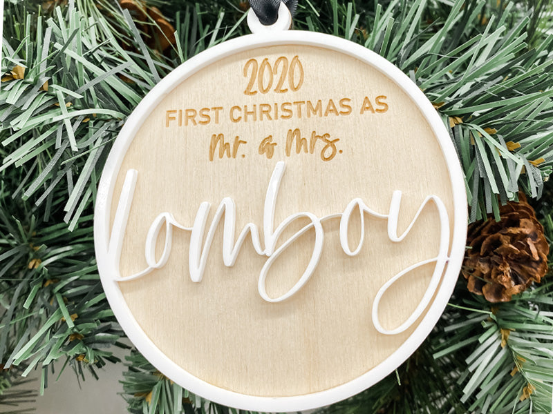 1st Christmas as Mr. & Mrs. Custom Ornament