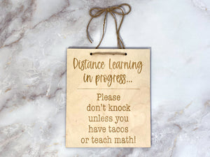 Distance Learning Door Sign