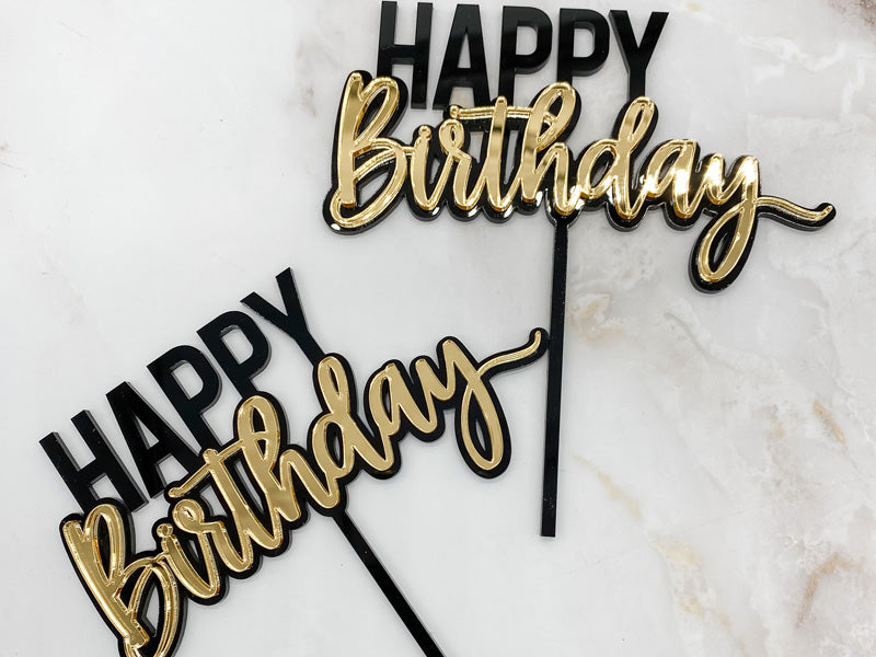 Happy Birthday - Black & Gold Cake Topper