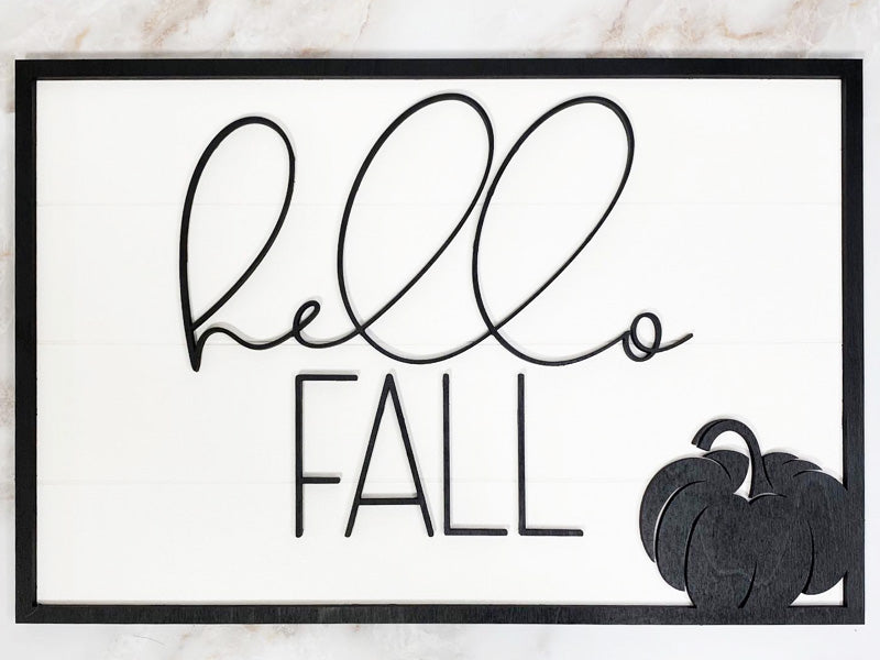 Hello Fall Pumpkin Wall/Door Sign - Rectangle