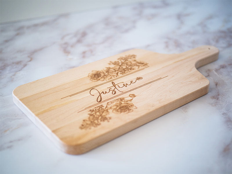 Custom Engraved Maple Cutting Board With Handle - Lilac Script