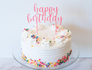 Happy Birthday Cake Topper - Colored Acrylic
