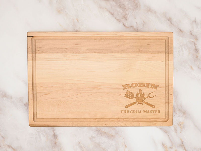 Custom Engraved Maple Cutting Board - The Grill Master
