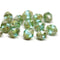 8x6mm Blue green cathedral Picasso czech glass beads 15Pc