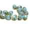 8x6mm Opal blue cathedral Picasso czech glass beads 15Pc