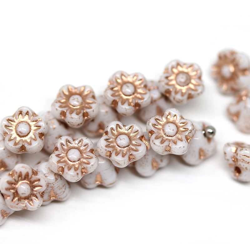 7mm Button style white flower beads copper inlays - 25pc
